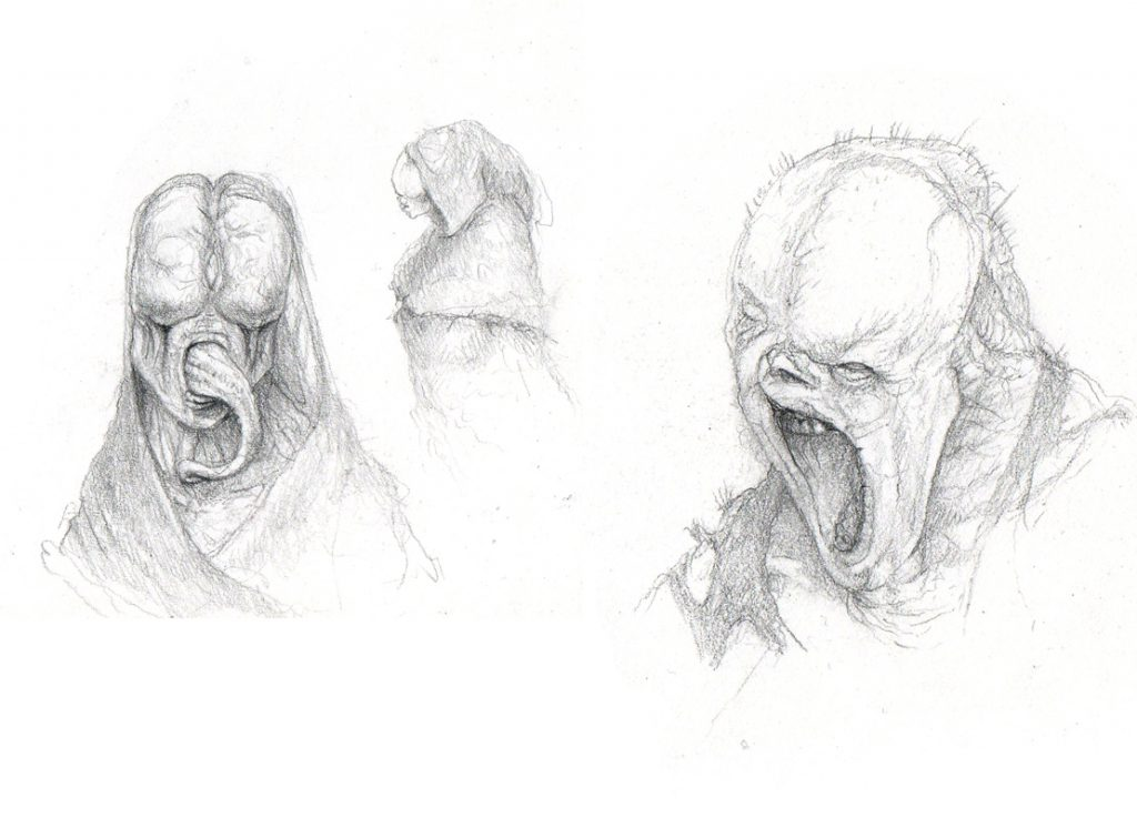 Veiled one, monster tongue and mutated face drawing