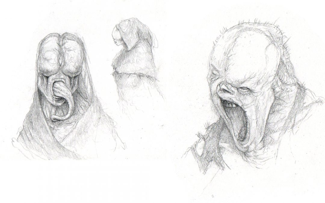 Pencil Monster Sketches – Monster Tongue & faces of horror